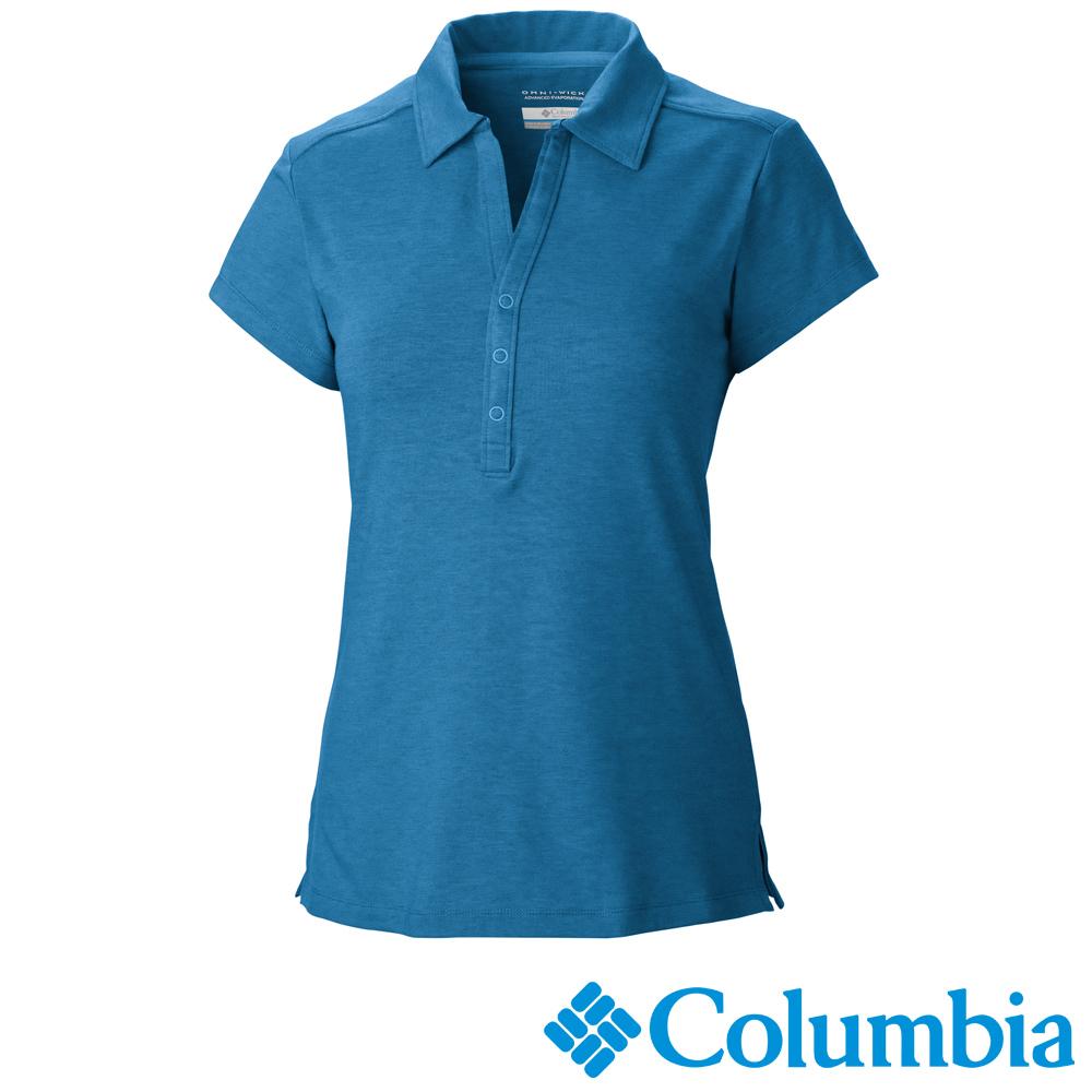 Columbia哥倫比亞 女款-快排短袖POLO衫藍色 UAL69400BL