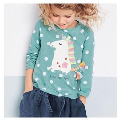 歐美風 女童純棉長袖T恤-彩色馬