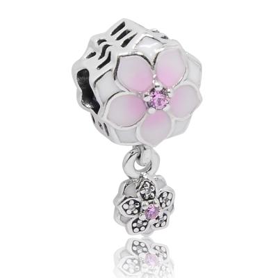 Pandora 潘朵拉 木蘭花綻放琺瑯 鑲鋯純銀吊墜 串珠