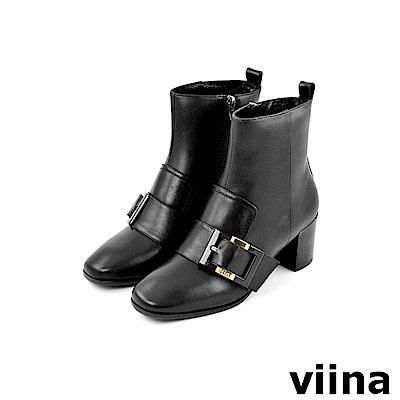 viina -都會系列-時尚牛皮側扣高跟短靴-黑
