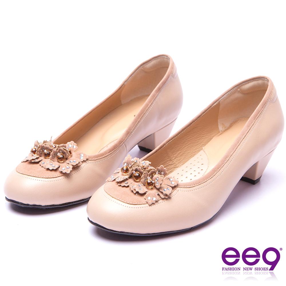 【ee9】經典手工-都會優雅異材質併接鑽飾造型花朵跟鞋*卡其