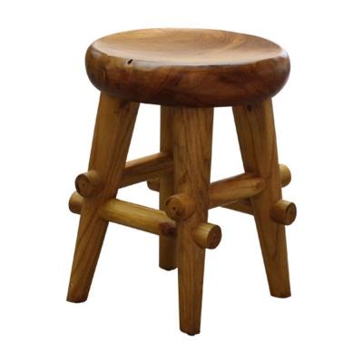 Asllie馬蘭柚木造型圓板凳-35x35x46cm-免組