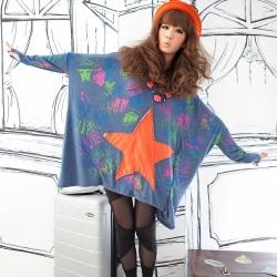 古著 貼布五角星星刷漆不規則斗篷連帽上衣 (藍)