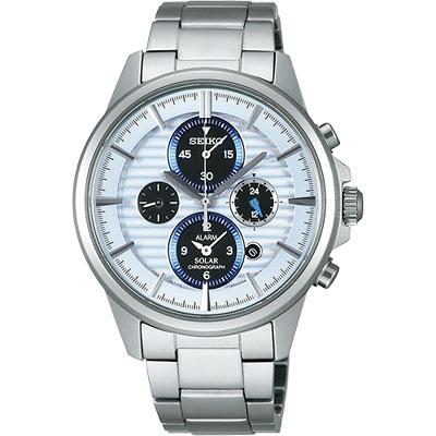 SEIKO 王者之劍太陽能鬧鈴兩地時間腕錶-40mm