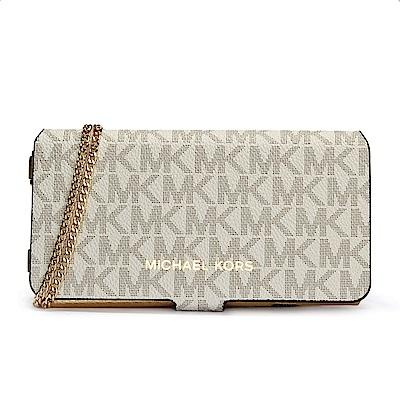 MICHAEL KORS 滿版LOOG金屬皮革斜背鏈帶翻蓋式手機包-米白色