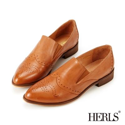 HERLS-全真皮英倫雕花尖頭樂福鞋-棕色