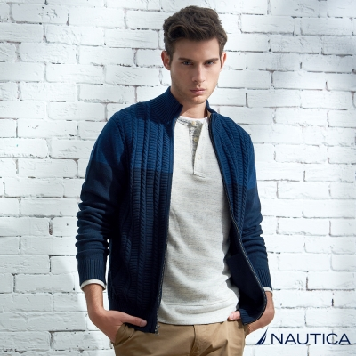 Nautica 雙色拼接針織衫外套-藍色