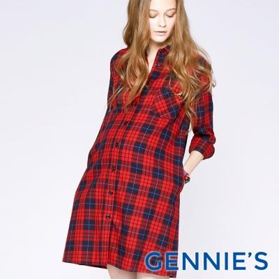 Gennies專櫃-經典格紋優雅哺乳洋裝-紅格/藍格(T1C11)二色可選