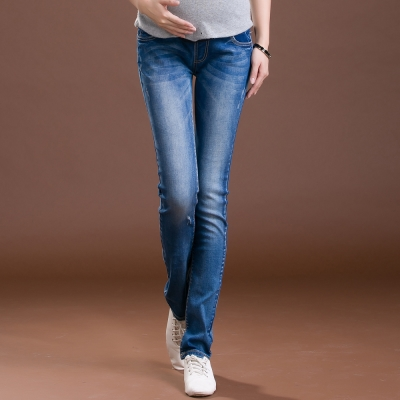 Keep-Chic孕婦裝-深藍韓風混色百搭貼身長褲