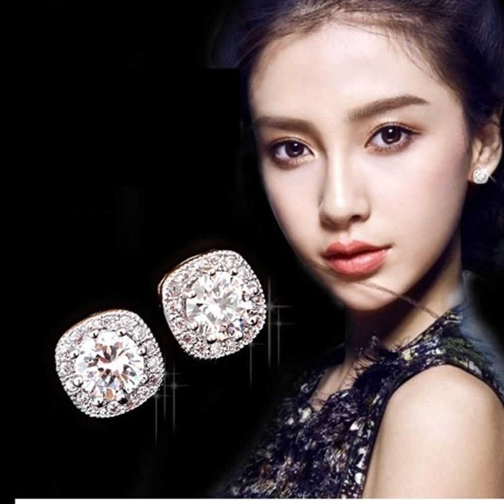 梨花HaNA 925銀針璀璨皓石方鑽單顆鑽石耳環