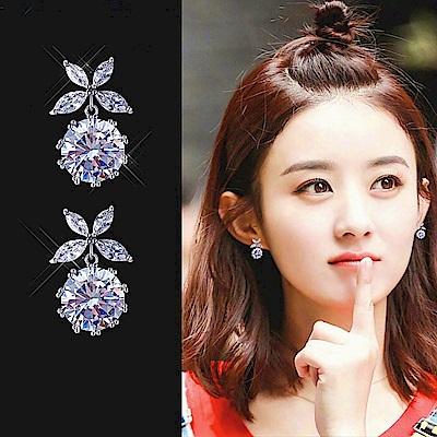 梨花HaNA 韓國925銀蝶漾水晶小巧耳環