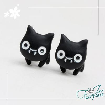 iSFairytale伊飾童話 虎牙黑貓 一體針式耳環