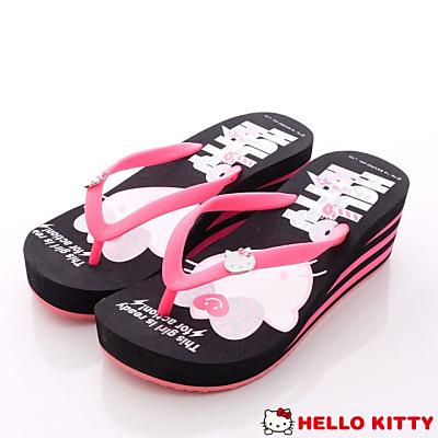 Hello Kitty-楔形夾腳涼鞋款-N16074黑(女段)
