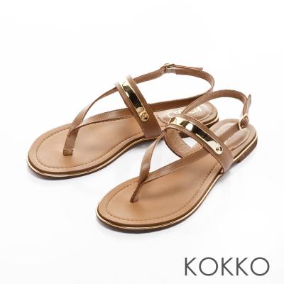 KOKKO-Y字金屬夾腳牛皮平底繫帶涼鞋-棕色