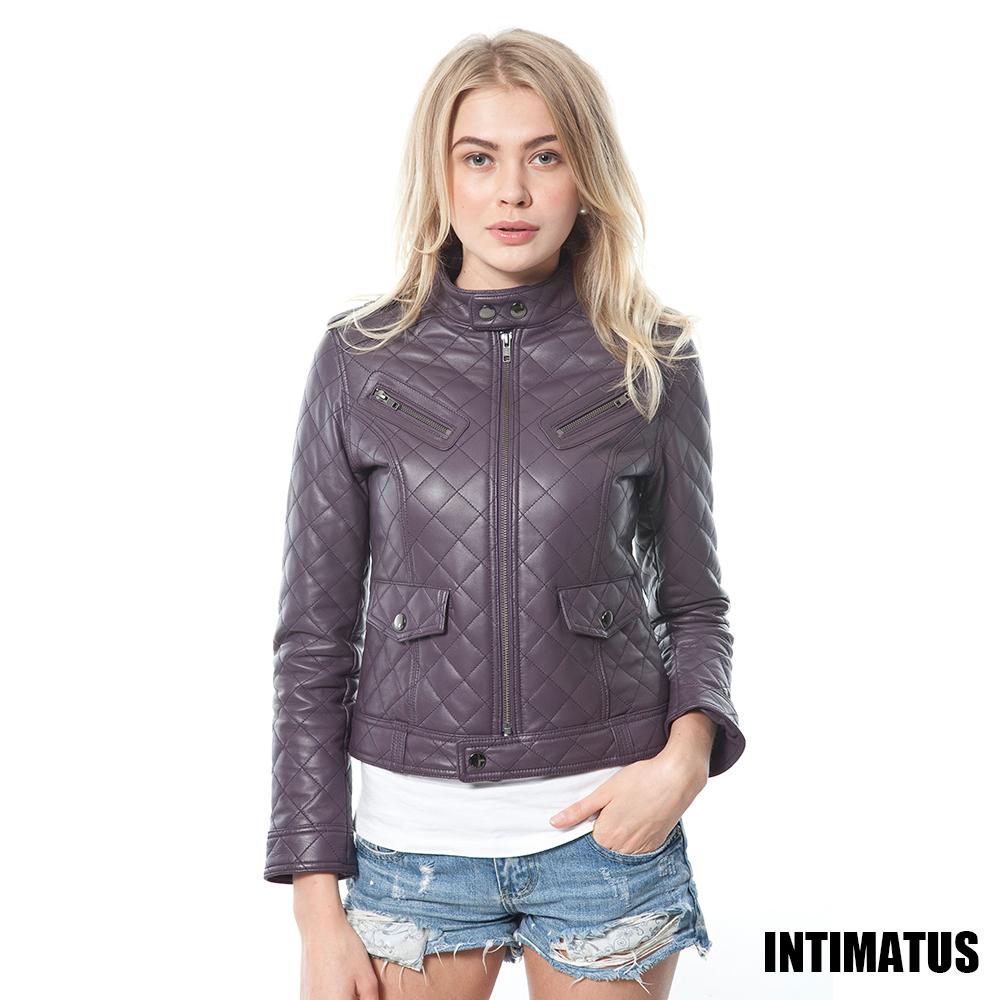 【真皮皮衣】菱格紋鋪棉微軍裝風小羊皮皮衣-紫羅蘭色 INTIMATUS