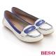 BESO青春學院-舒適皮革配色皮片接縫壓紋造