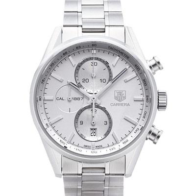 TAG HEUER 豪雅Carrera 系列機械計時腕錶-銀/41mm