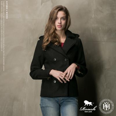 ROUSH 女生袖口拉鍊雙排釦毛呢短大衣 (2色)