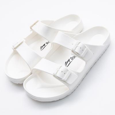 Roadpacer-男雙釦環休閒拖鞋-白