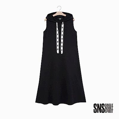 SNS 潮流個性品牌抽繩連帽休閒洋裝(1色)