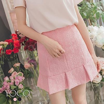 東京著衣-yoco 浪漫雅緻氣質典雅荷葉蕾絲短裙-XS.S.M.L(共二色)
