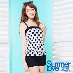 夏之戀SUMMERLOVE 比基尼泳裝 背心短褲兩件式泳裝  黑白圓點點