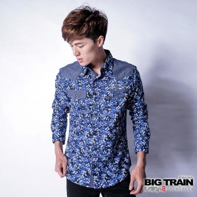 BIG TRAIN 日式印花襯衫-男-藍碎花