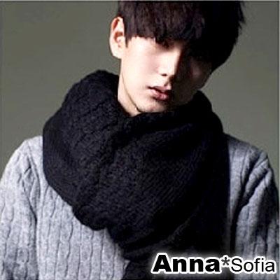 AnnaSofia-波浪辮織紋-馬海毛披肩圍巾-酷黑系