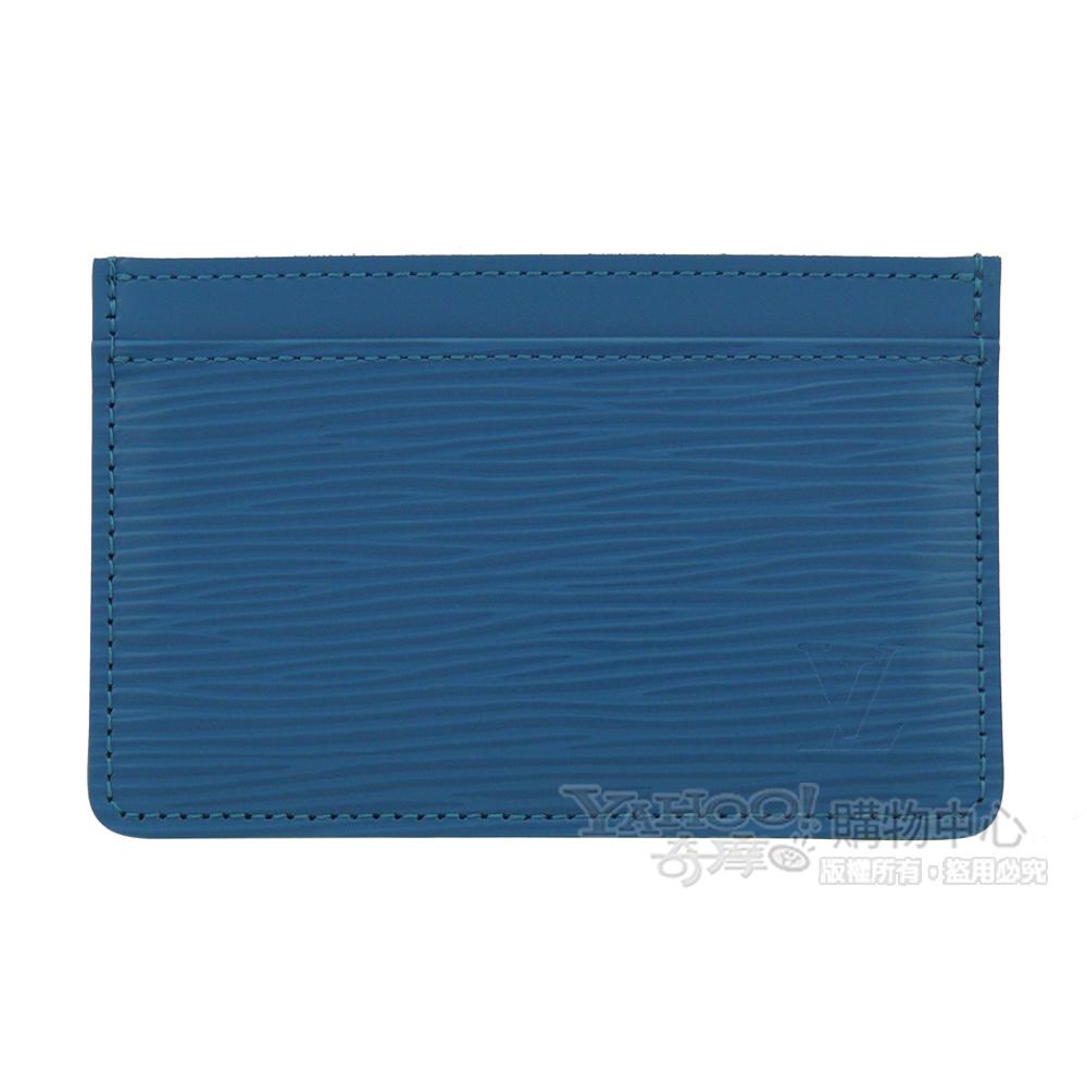 LV【M60334】經典EPI水波紋porte-cartes simple功能卡片夾(青色