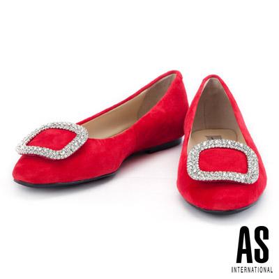 娃娃鞋 AS 晶鑽方釦羊麂皮平底娃娃鞋-紅