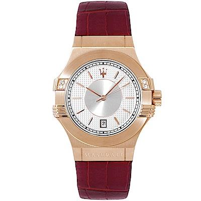 MASERATI 瑪莎拉蒂POTENZA璀璨晶鑽手錶女錶-白X玫瑰金/34mm
