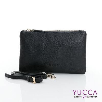 YUCCA 萬用多夾層手拿斜背小包 - 黑色 D014801