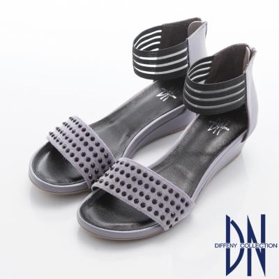 DN 摩登時尚 簡約舒適繞踝露趾小坡跟涼鞋-紫