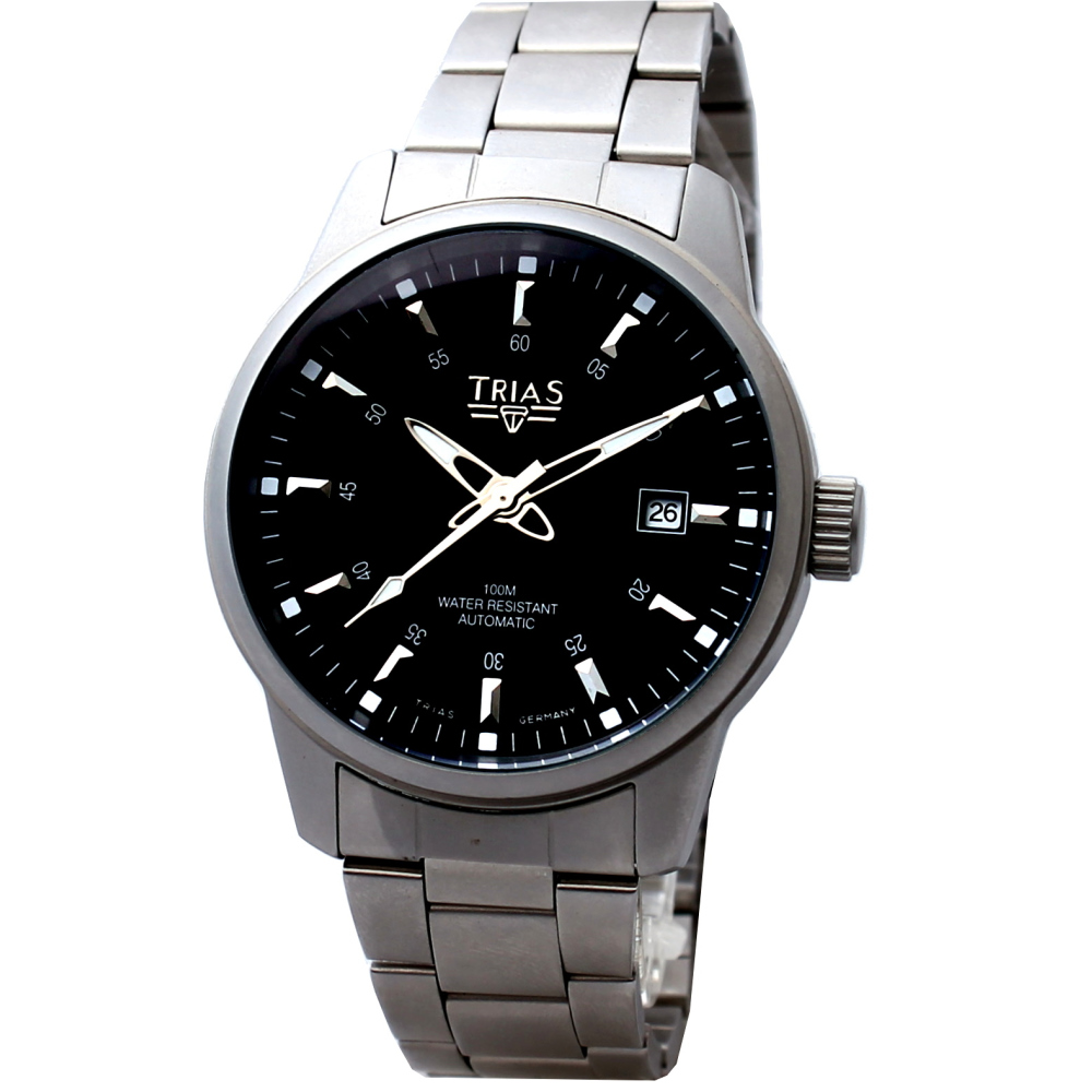 TRIAS 典藏家機械鋼帶腕錶-黑/40mm
