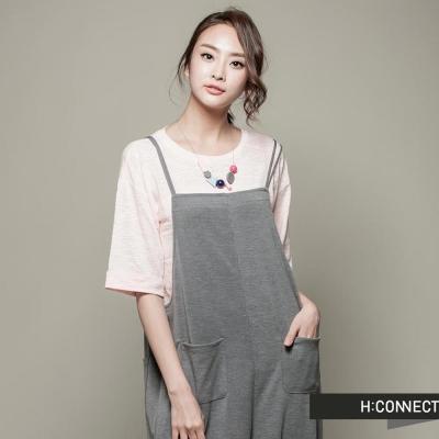 H-CONNECT-韓國品牌-CONNECT系列-純色長版短袖上衣-粉-快