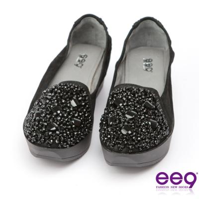 ee9璀璨迷人-耀眼奪目鑲嵌晶鑽超輕楔型跟包鞋-黑