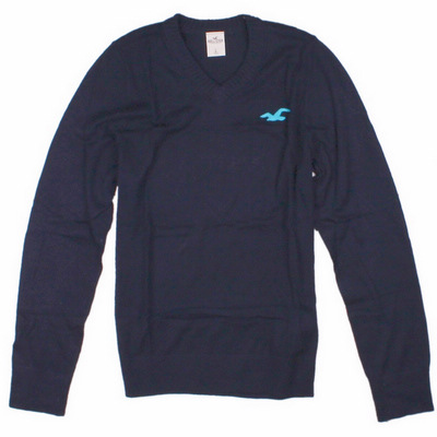 HOLLISTER Co. 秋冬新款 男裝 海鷗LOGO刺繡V領素色長袖針織衫(黑)