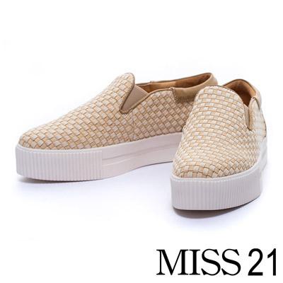 MISS 21 雙色牛仔編織布厚底休閒懶人鞋-米