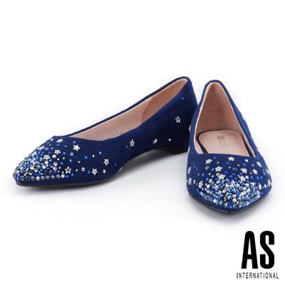 低跟鞋 AS 璀璨星空羊麂皮尖頭低跟鞋-藍