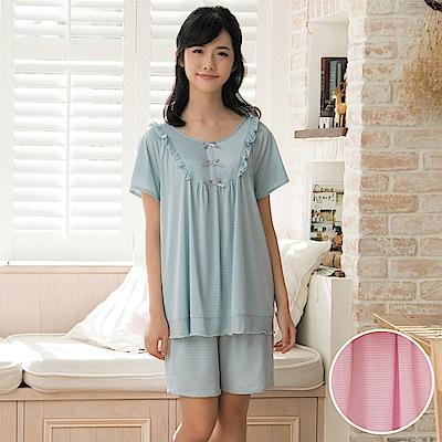 華歌爾睡衣-冰涼紗居家條紋 M-L 短袖睡衣褲裝(粉)-舒適睡衣