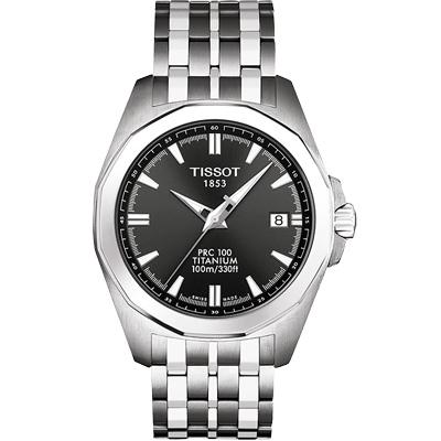TISSOT 天梭PRC100【鈦】經典大三針腕錶-鐵黑/38mm