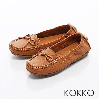 KOKKO -舒適彈力蝴蝶結莫卡辛牛皮便鞋 - 秋楓褐
