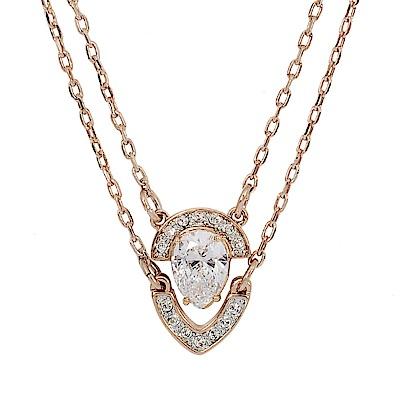 SWAROVSKI 施華洛世奇 梨形造型水晶玫瑰金多層次項鍊