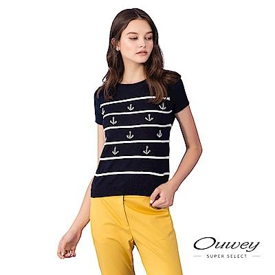 OUWEY歐薇 船錨造型輕薄純棉條紋上衣(藍)