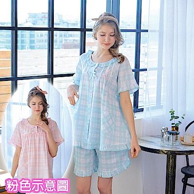 睡衣 精梳棉平織薄短袖兩件式睡衣(R77021-2粉紅格紋) 蕾妮塔塔