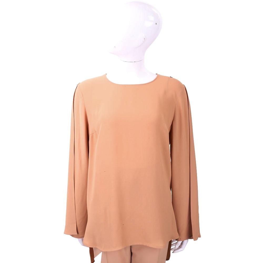 ELISABETTA FRANCHI 交叉片袖剪裁極簡粉橘雪紡上衣