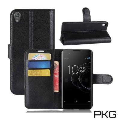 PKG SONY XA1 PLUS 側翻式皮套經典皮革系列-黑