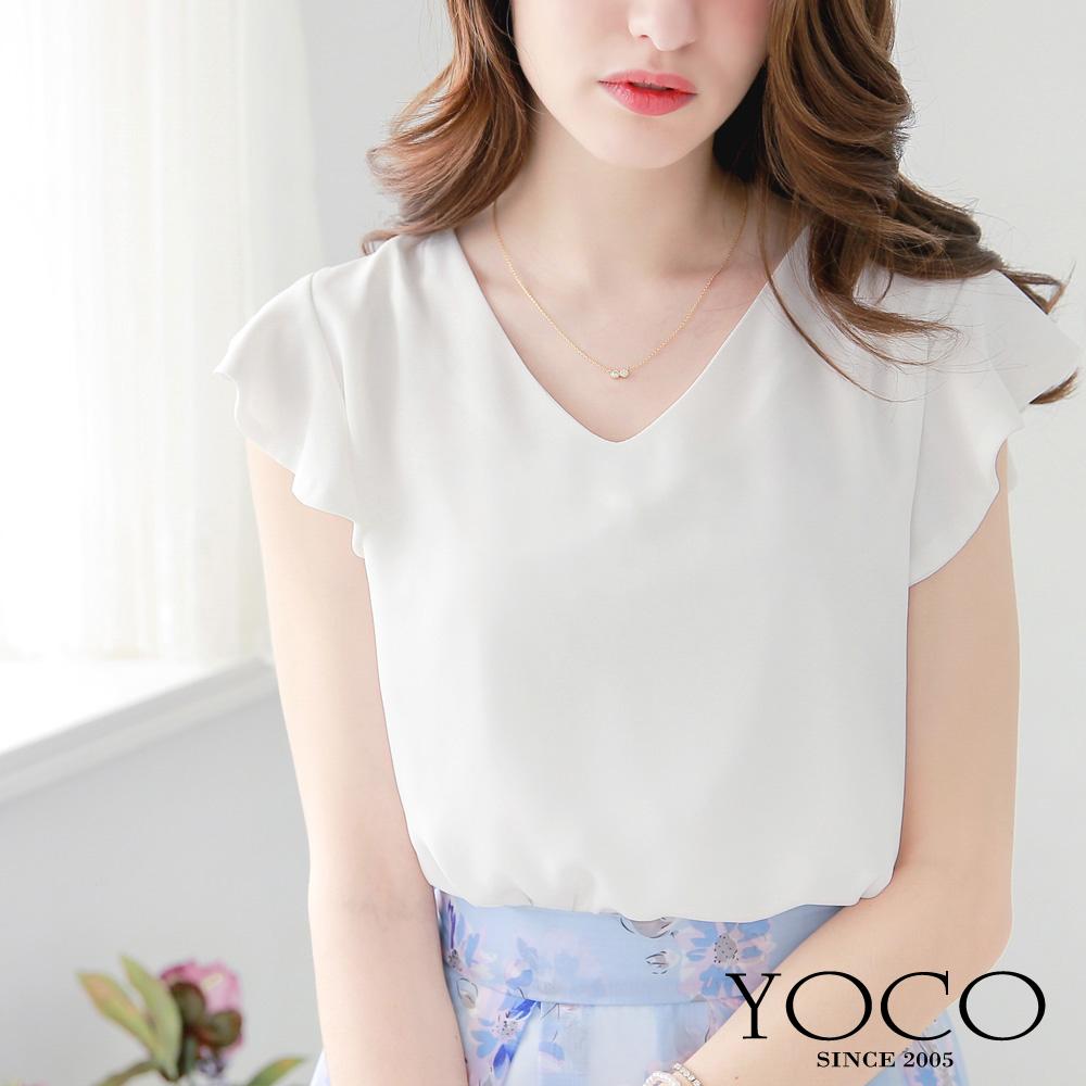 東京著衣-yoco 素色V領荷葉袖雪紡上衣-XS.S.M(共四色)