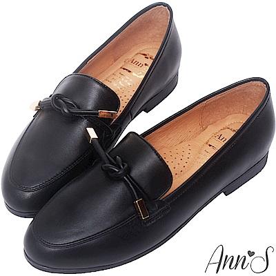 Ann'S知性文藝-雙結柔軟綿羊皮紳士平底鞋-黑