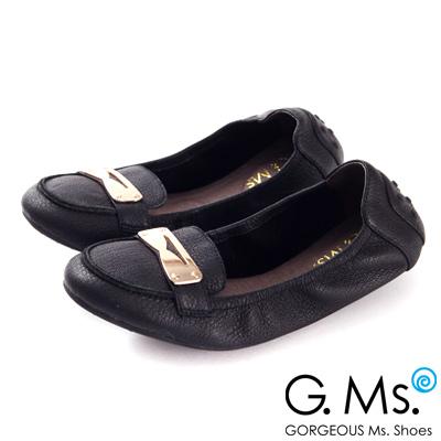 G.Ms.  輕旅行-金屬飾釦折疊旅行莫卡辛鞋-優雅黑